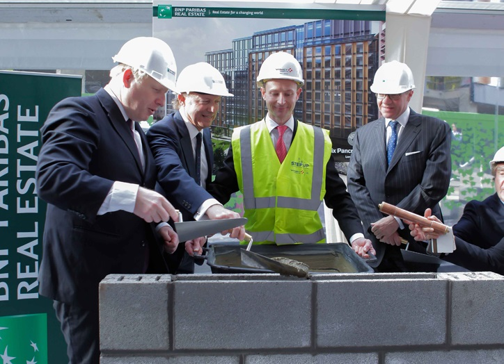 Boris Johnson attends King's Cross Central topping out